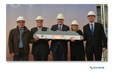 Celebrity Cruises continues to be a trailblazer in modern luxury travel as President and CEO Lisa Lutoff-Perlo cuts the first piece of steel for Celebrity Edge, the first ship of its class.