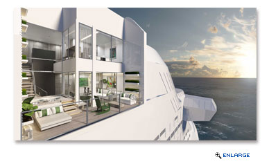 The two-level Edge Villas are one of the new Suite Classes aboard Edge. The suite boasts two stories of windows, an atrium stairway with terrace views and a three-foot-deep plunge pool.