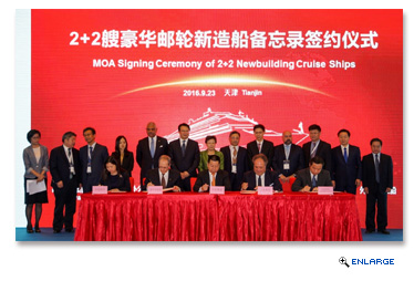 Carnival Corporation Cruise Joint Venture in China Signs Memorandum of Agreement to Order First New Cruise Ships Built in China for the Chinese Market