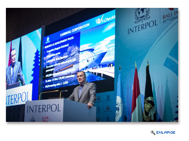 Mick O'Connell, director of operational support and analysis for INTERPOL, presents at INTERPOL's General Assembly