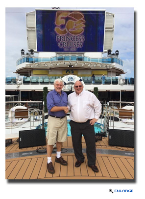 David Molyneaux (left), president of the Society of American Travel Writers Foundation, and Roger Frizzell, senior vice president of corporate communications and chief communications officer for Carnival Corporation,