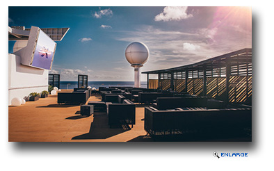 The new Rooftop Terrace includes a large screen, chaise longues, cabanas, soundscape and decorative lighting