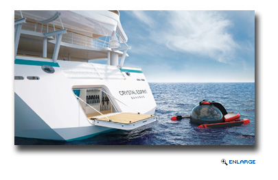 Crystal Esprit is outfitted with some decidedly extreme features, like a two-passenger submarine