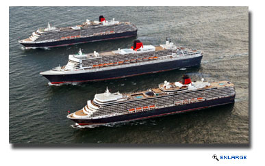 Cunard's Queens Line Up Three Abreast For Photo Shoot