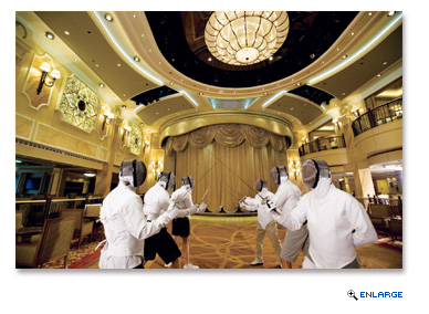 Fencing is among several skills that some passengers on cruise ships enjoy learning while on vacation