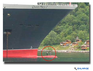 Back in 2004 two local teens climbed up onto the ship's bulbous bow