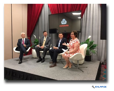 From L-R: David Noyes, Cunard CEO, Richard Meadows, President, Cunard North America, Angus Struthers, Vice President of Marketing, and Jackie Chase, Director of Public Relations