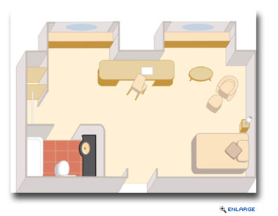 Queen Mary 2 single stateroom layout