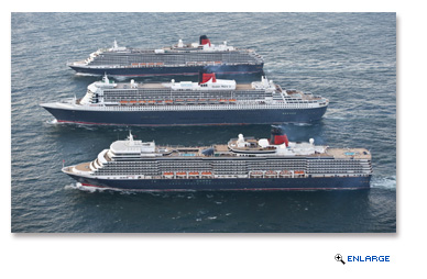 Cunard's three Queens - Queen Mary 2, Queen Elizabeth and Queen Victoria