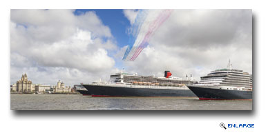 Cunards Three Queens Perform River Dance on the Mersey