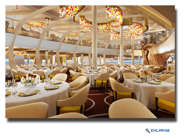 The main Dining Room aboard ms Koningsdam will span two floors and be framed by views of the sea.