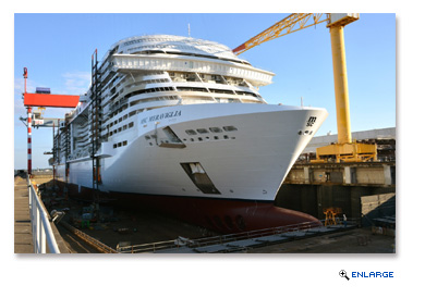 MSC Meraviglia, MSC Cruises next generation mega-ship, prior to the float out ceremony at STX France