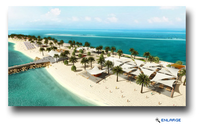 Rendering of the beachside bar and shaded eating area on Sir Bani Yas Island Beach Oasis in Abu Dhabi