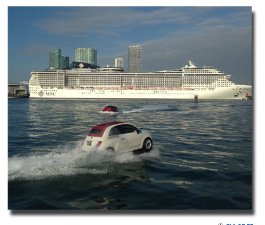 MSC Cruises' MSC Divina  made cruise history this morning, when it was escorted into PortMiami by a fleet of high-powered FIAT personal watercraft.