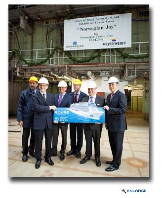 Norwegian Joy's Keel Laying Ceremony Held at Meyer Werft