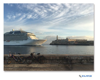 Oceania Cruises' 1,250-guest Marina sails majestically past El Morro Castle into Havana Harbor