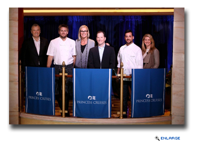 Stein Kruse, CEO Princess Cruises (left) and Jan Swartz, President Princess Cruises (right) joined by partners Chef Curtis Stone, Designer Candice Olson, Sleep Expert Dr. Michael Breus and Chef Ernesto Uchimura who were together to announce the Come Back New Promise
