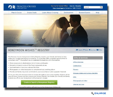 Princess Launches Honeymoon Wishes Online Registry