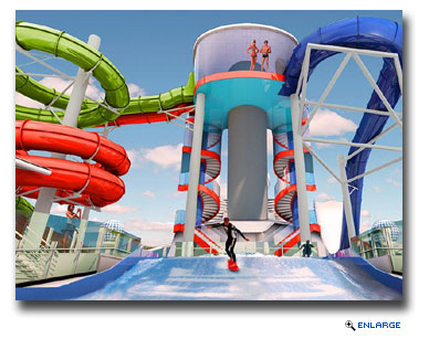 The addition of a collection of waterslides called the Perfect Storm will include the first ever boomerang style slide at sea, Tidal Wave