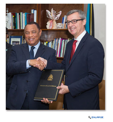 Perry Christie, Prime Minister of The Bahamas (left) and Michael Bayley, president and CEO, Royal Caribbean