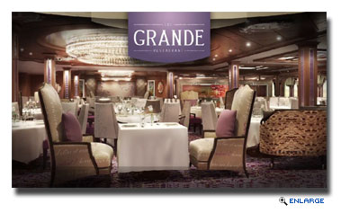 The Grande, a luxuriant nod to a bygone era of classic European ocean liners when dining was a time honored ritual, featuring timeless dishes, and where every night is formal night.