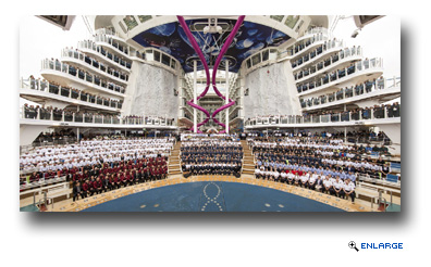 Royal Caribbean International today honored the crew and project team of the new Harmony of the Seas at a traditional delivery and flag changing ceremony in Saint Nazaire, France. Following 32 months of construction at the STX France shipyard involving thousands of shipyard employees, sub-contractors and suppliers, the world's largest and most innovative cruise ship is now home to 2,100 crew members from 77 different nationalities.