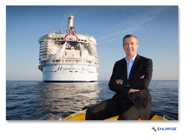 Royal Caribbean President and CEO Michael Bayley shows off the cruise line's newest ship, Harmony of the Seas.