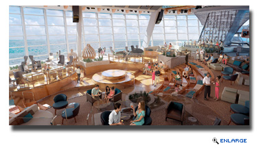 Two70 is home to a playful and agile troupe of six Roboscreens that stage surprise performances during every cruise