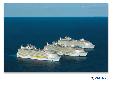 Royal Caribbean International's Oasis-class ships, Oasis of the Seas, Allure of the Seas and the new Harmony of the Seas