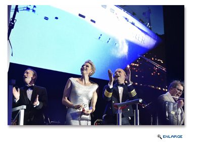 Regent Seven Seas Cruises President and COO Jason Montague, H.S.H. Princess Charlene of Monaco celebrate the christening of the fleet's newest ship,