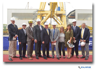 Various executives from Fincantieri and Seabourn celebrated the keel laying ceremony in Marghera, Italy
