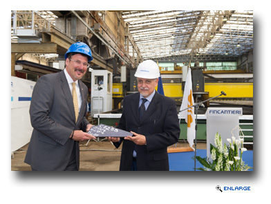 Richard Meadows, President of Seabourn, and Raffaele Davassi, Director of the Fincantieri Shipyard, Celebrate the Steel Cutting of Seabourn Ovation in Sestri Ponente