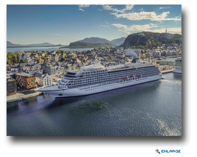 The new 930-passenger Viking Sea, docked in Alesund, Norway on the first sailing of Viking's new Into the Midnight Sun itinerary that cruises between London and Bergen, Norway.