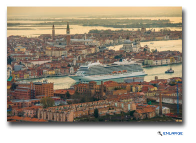 Viking Sea, the second ship from Viking Ocean Cruises, seen arriving in Venice, Italy